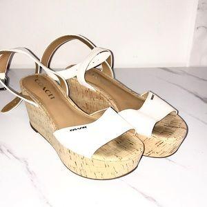 Coach wooden wedge white heels